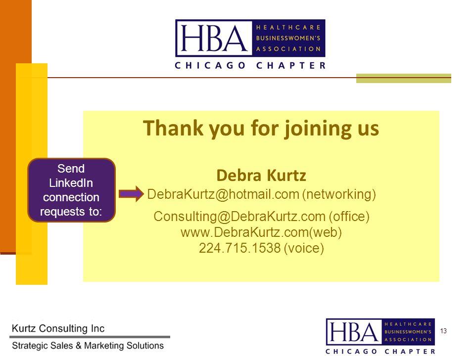 13 Thank you for joining us Debra Kurtz DebraKurtz@hotmail.com (networking) Consulting@DebraKurtz.com (office) www.DebraKurtz.com(web) 224.715.1538 (voice) Send LinkedIn connection requests to: