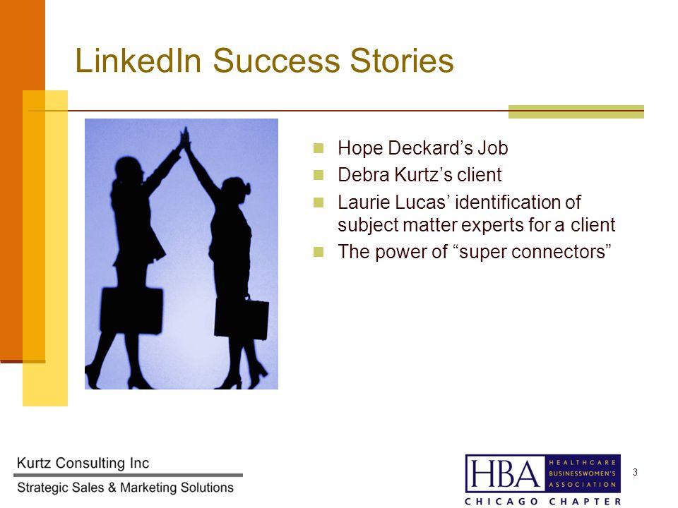 Hope Deckards Job Debra Kurtzs client Laurie Lucas identification of subject matter experts for a client The power of super connectors 3 LinkedIn Success Stories