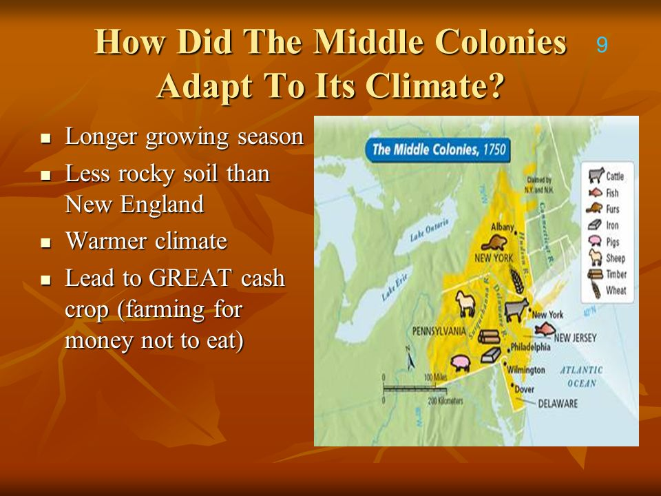 How Did The Middle Colonies Adapt To Its Climate? Longer growing season Longer growing season Less rocky soil than New England Less rocky soil than Ne