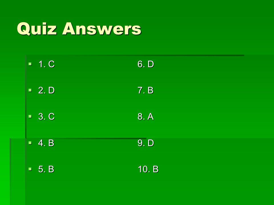 Quiz Answers 1. C6. D 1. C6. D 2. D7. B 2. D7. B 3. C8. A 3. C8. A 4. B9. D 4. B9. D 5. B10. B 5. B10. B
