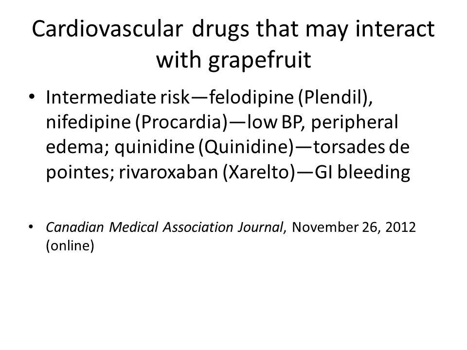 Cardiovascular drugs that may interact with grapefruit Intermediate riskfelodipine (Plendil), nifedipine (Procardia)low BP, peripheral edema; quinidin