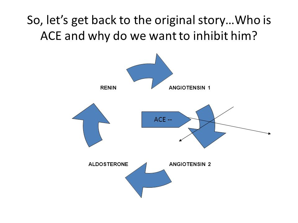 So, lets get back to the original story…Who is ACE and why do we want to inhibit him? ANGIOTENSIN 1 ANGIOTENSIN 2 ALDOSTERONE RENIN ACE --