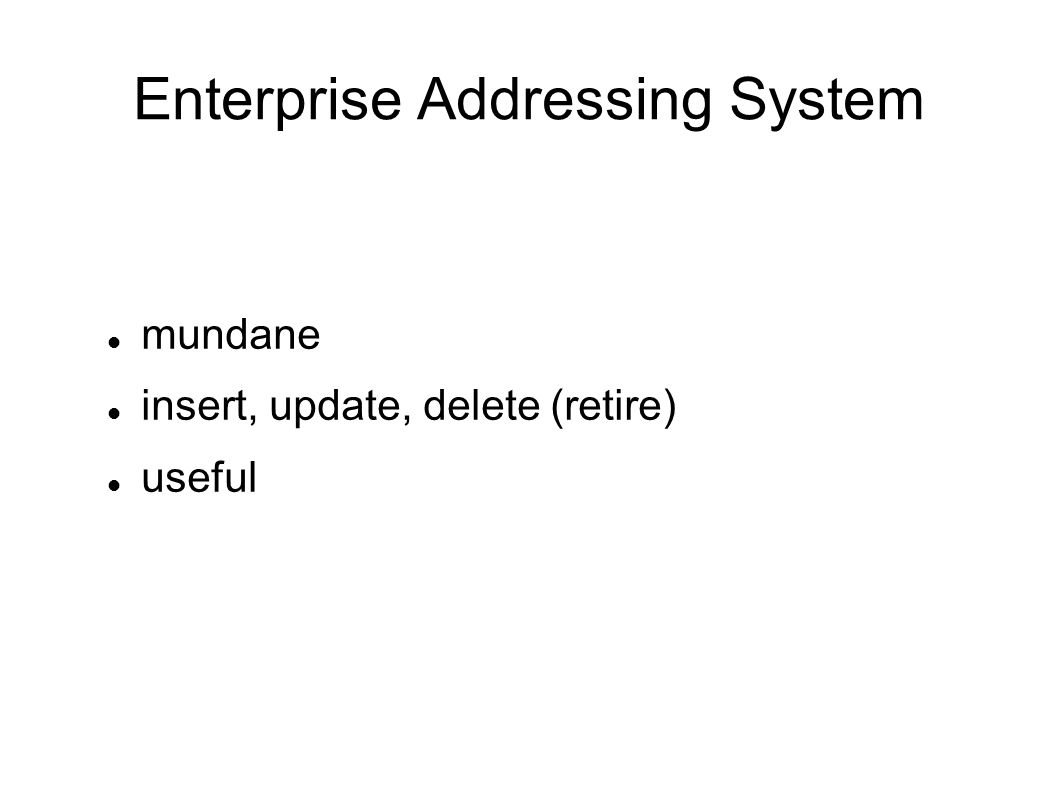 mundane insert, update, delete (retire) useful Enterprise Addressing System