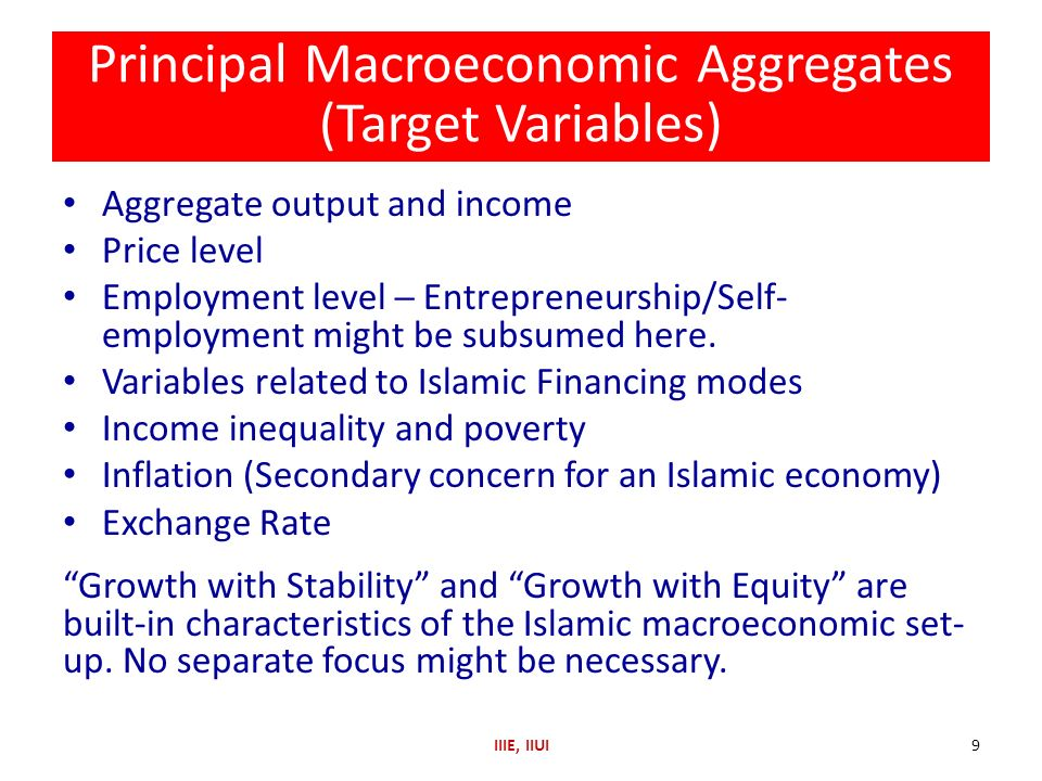 Principal Macroeconomic Aggregates (Target Variables) Aggregate output and income Price level Employment level Entrepreneurship/Self- employment might