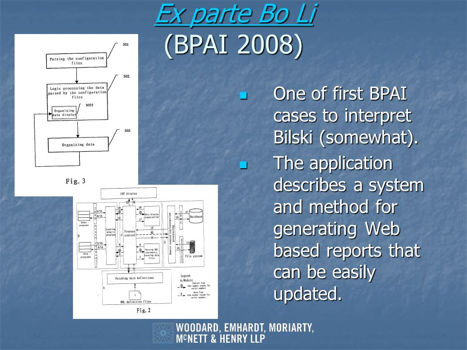 Ex parte Bo Li Ex parte Bo Li (BPAI 2008) Ex parte Bo Li One of first BPAI cases to interpret Bilski (somewhat). One of first BPAI cases to interpret