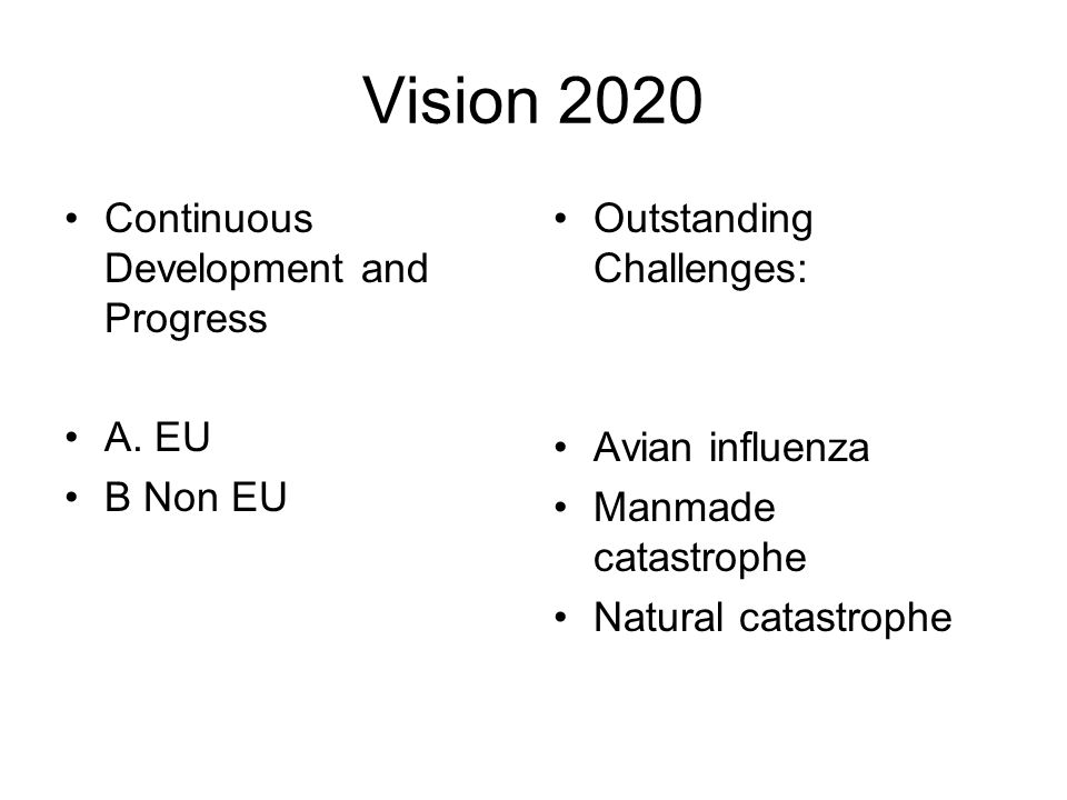 Vision 2020 Continuous Development and Progress A. EU B Non EU Outstanding Challenges: Avian influenza Manmade catastrophe Natural catastrophe