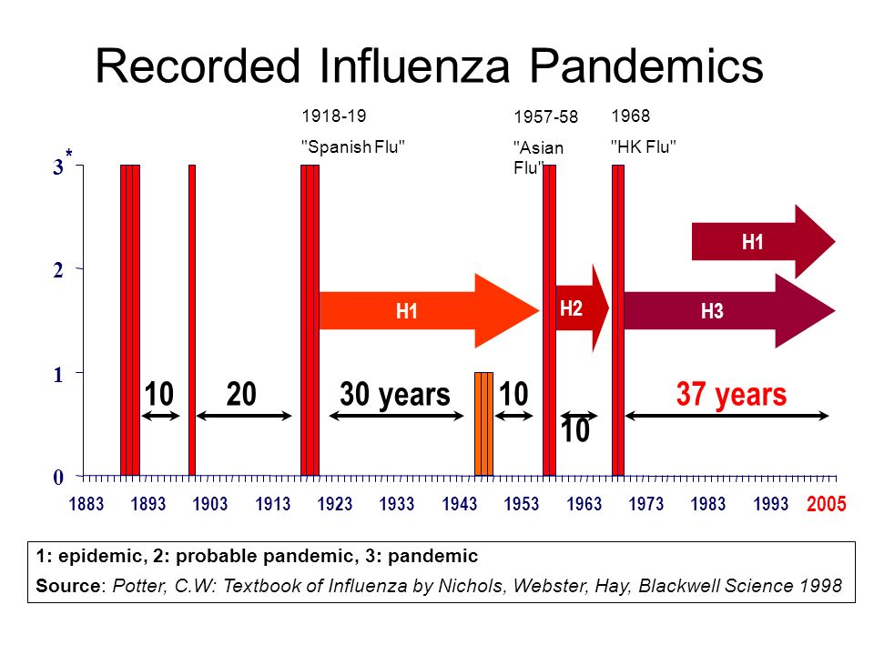 1: epidemic, 2: probable pandemic, 3: pandemic Source: Potter, C.W: Textbook of Influenza by Nichols, Webster, Hay, Blackwell Science 1998 Recorded Influenza Pandemics 0 1 2 3 1883 * 1918-19 Spanish Flu 1957-58 Asian Flu 1968 HK Flu