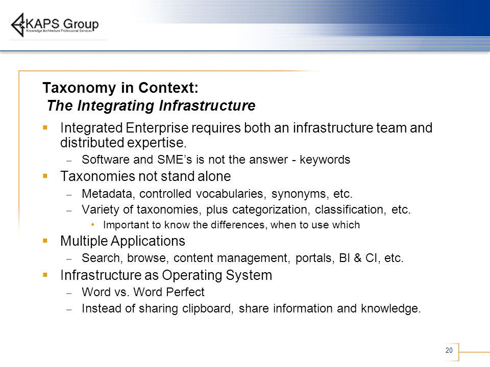 20 Taxonomy in Context: The Integrating Infrastructure Integrated Enterprise requires both an infrastructure team and distributed expertise. – Softwar