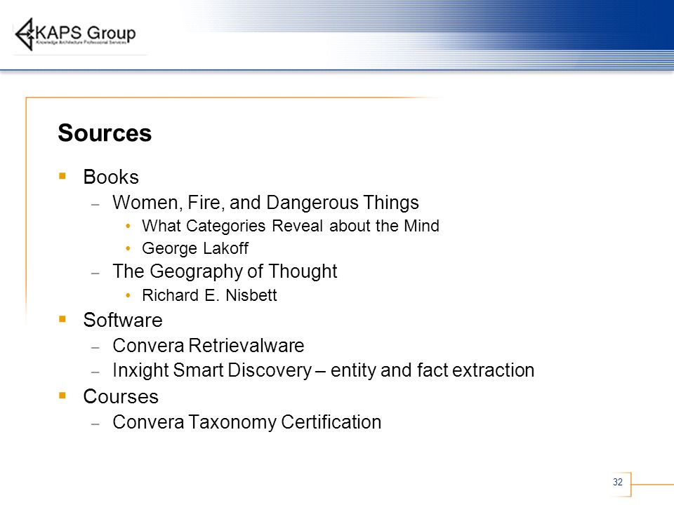 32 Sources Books – Women, Fire, and Dangerous Things What Categories Reveal about the Mind George Lakoff – The Geography of Thought Richard E. Nisbett