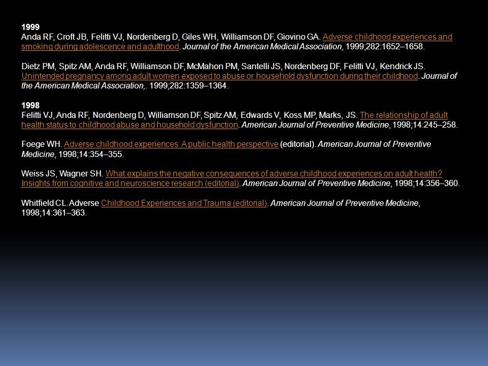 1999 Anda RF, Croft JB, Felitti VJ, Nordenberg D, Giles WH, Williamson DF, Giovino GA. Adverse childhood experiences and smoking during adolescence an