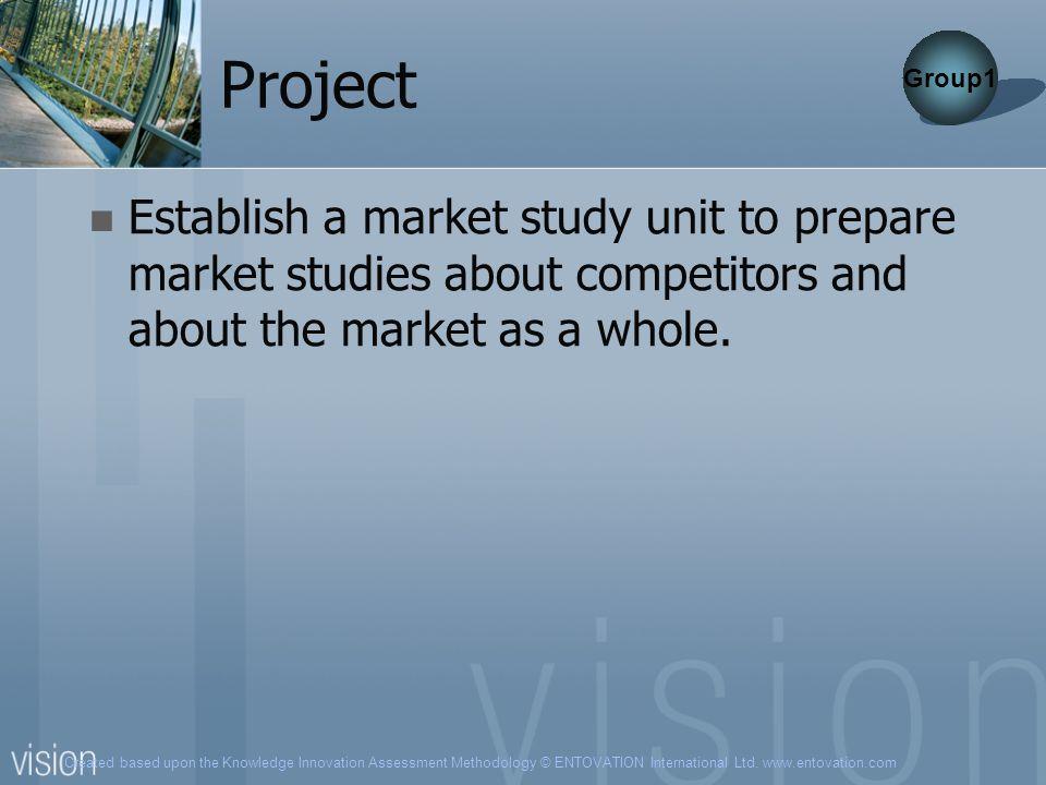 Created based upon the Knowledge Innovation Assessment Methodology © ENTOVATION International Ltd. www.entovation.com Project Establish a market study