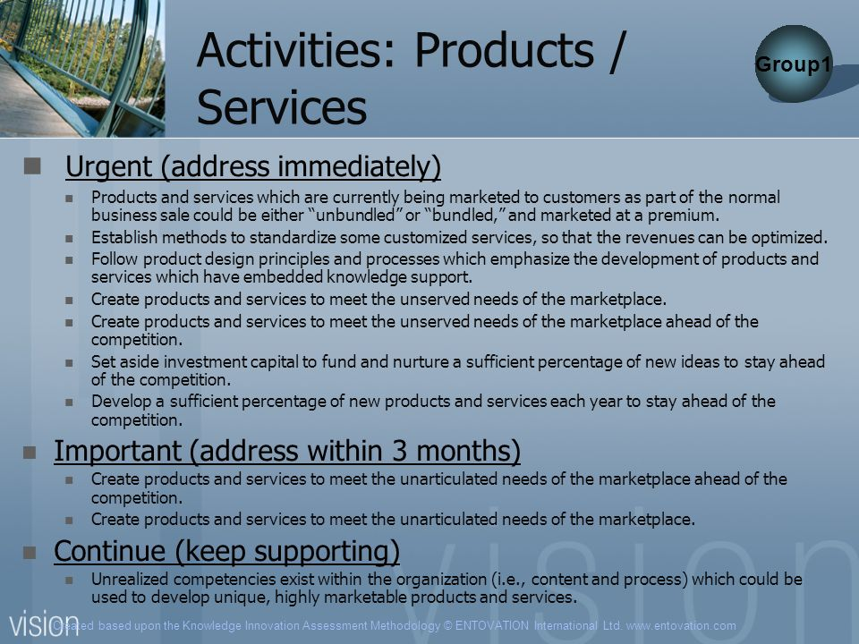 Created based upon the Knowledge Innovation Assessment Methodology © ENTOVATION International Ltd. www.entovation.com Activities: Products / Services