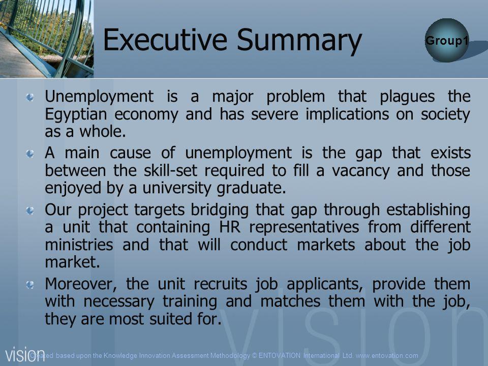 Created based upon the Knowledge Innovation Assessment Methodology © ENTOVATION International Ltd. www.entovation.com Executive Summary Unemployment i