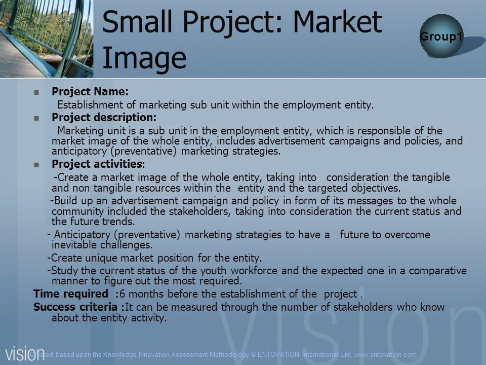 Created based upon the Knowledge Innovation Assessment Methodology © ENTOVATION International Ltd. www.entovation.com Small Project: Market Image Proj