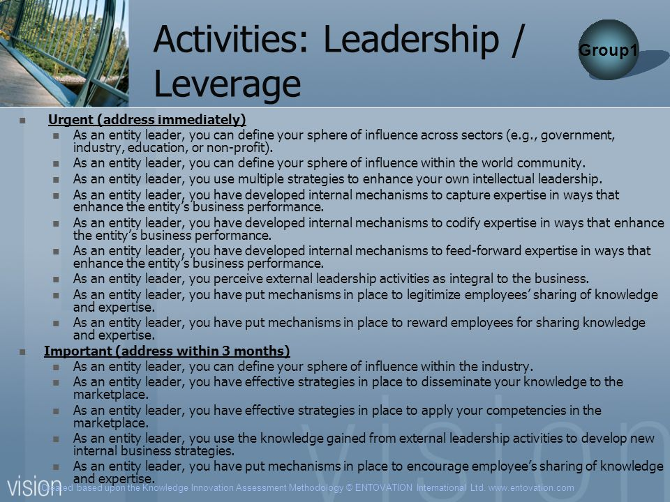 Created based upon the Knowledge Innovation Assessment Methodology © ENTOVATION International Ltd. www.entovation.com Activities: Leadership / Leverag