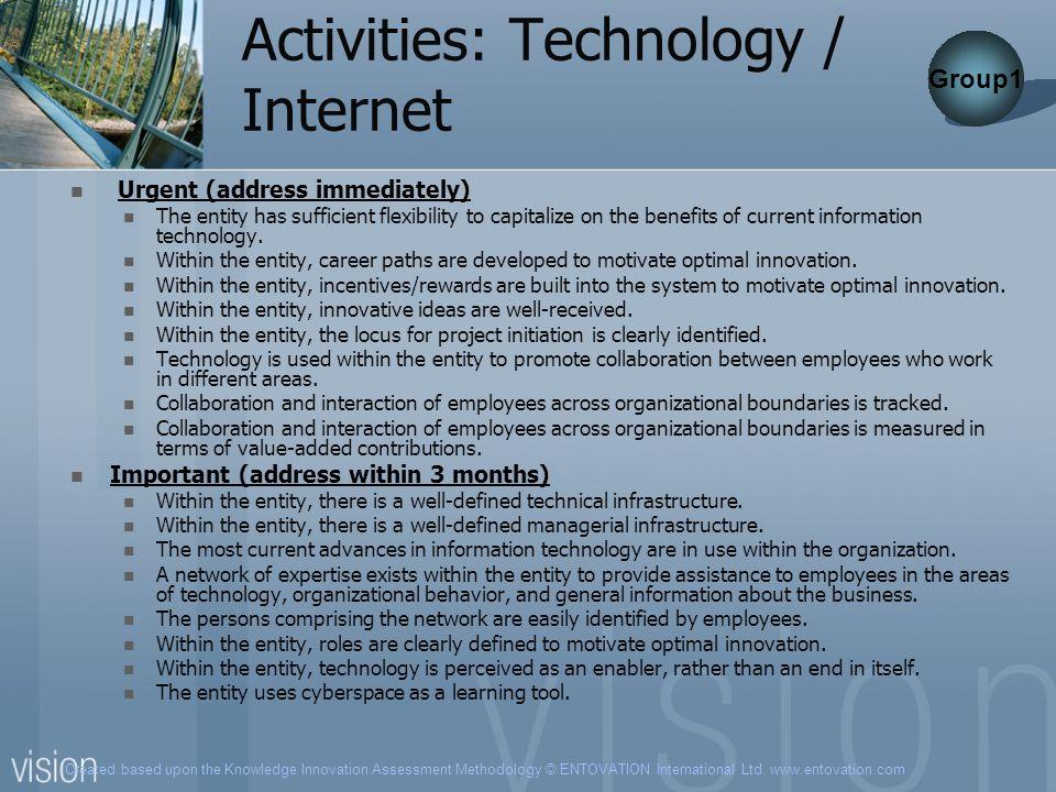 Created based upon the Knowledge Innovation Assessment Methodology © ENTOVATION International Ltd. www.entovation.com Activities: Technology / Interne