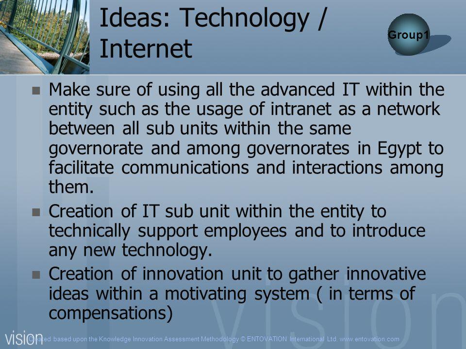 Created based upon the Knowledge Innovation Assessment Methodology © ENTOVATION International Ltd. www.entovation.com Ideas: Technology / Internet Mak