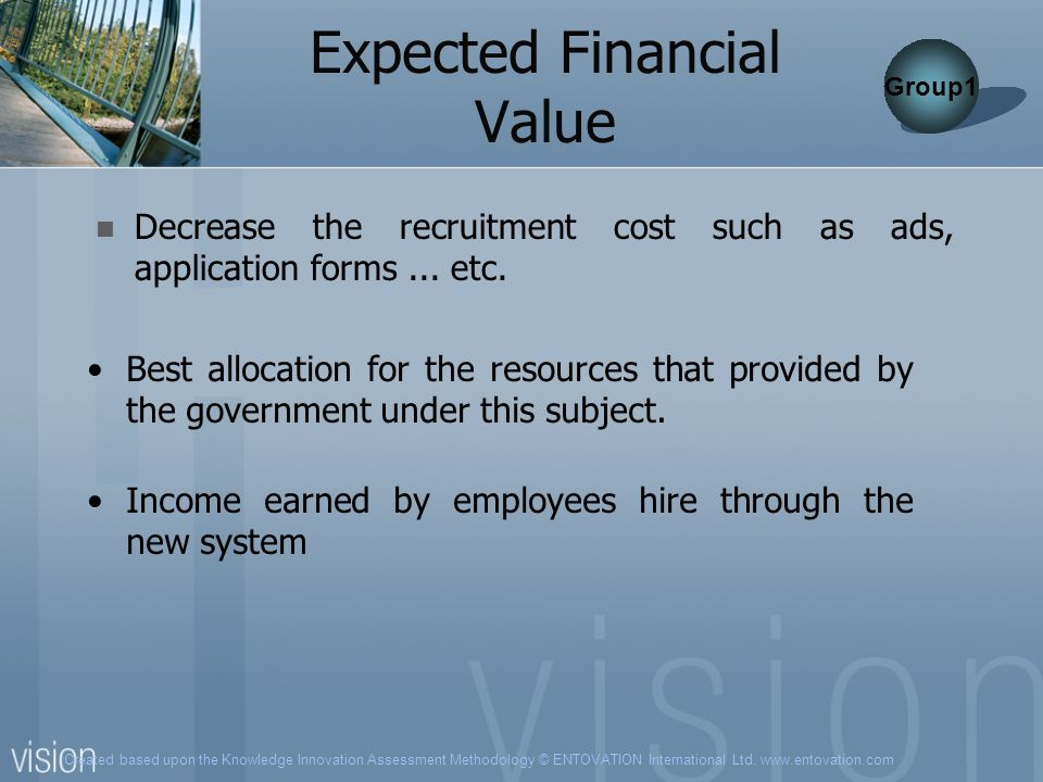 Created based upon the Knowledge Innovation Assessment Methodology © ENTOVATION International Ltd. www.entovation.com Expected Financial Value Decreas
