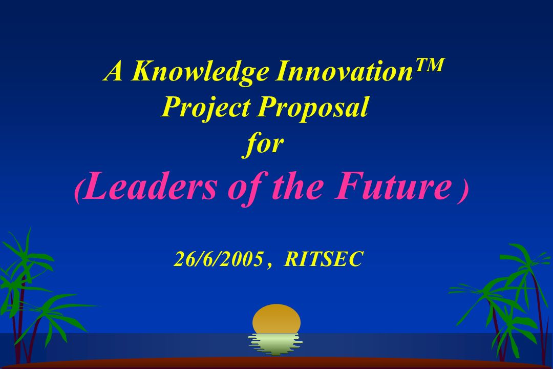 Thank you The following course work and project proposal was created as part of the KEN Practitioner Certification Course delivered at RITSEC, Cairo in collaboration with Entovation Internation Ltd.