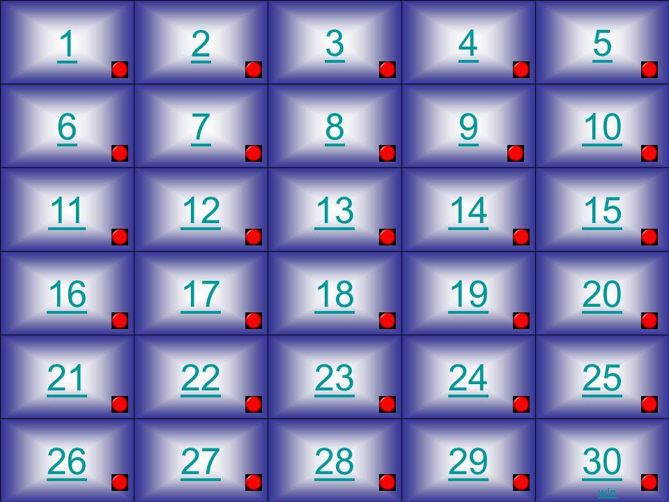6 11 16 21 26 7 12 17 22 27 3 8 13 23 28 4 9 14 19 24 29 5 10 15 20 25 30 2 18 1 win