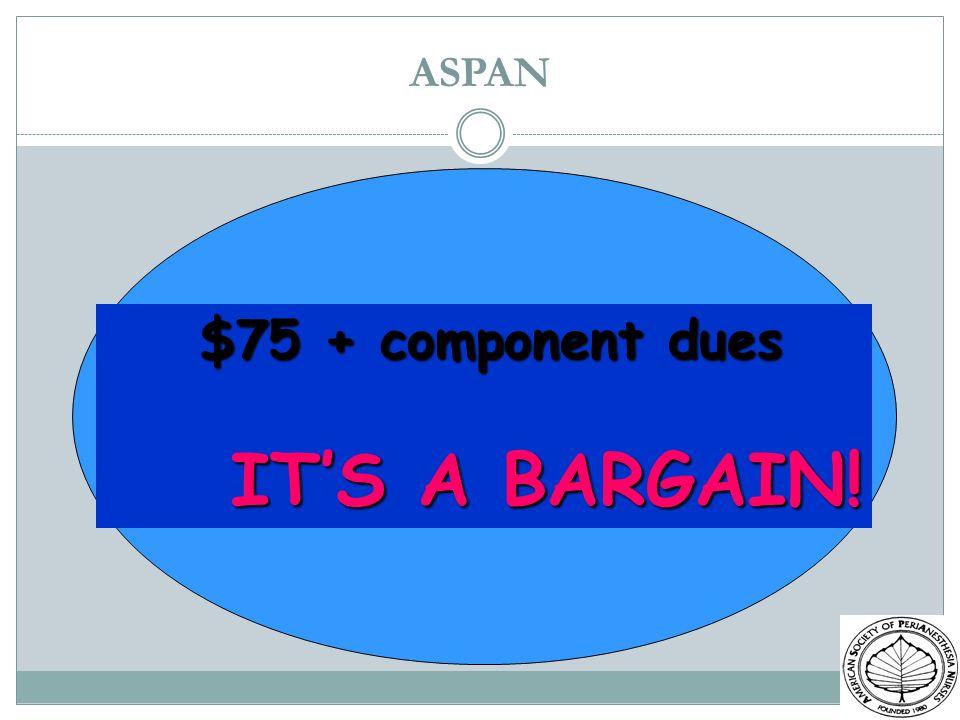 ASPAN $75 + component dues $75 + component dues ITS A BARGAIN! ITS A BARGAIN!