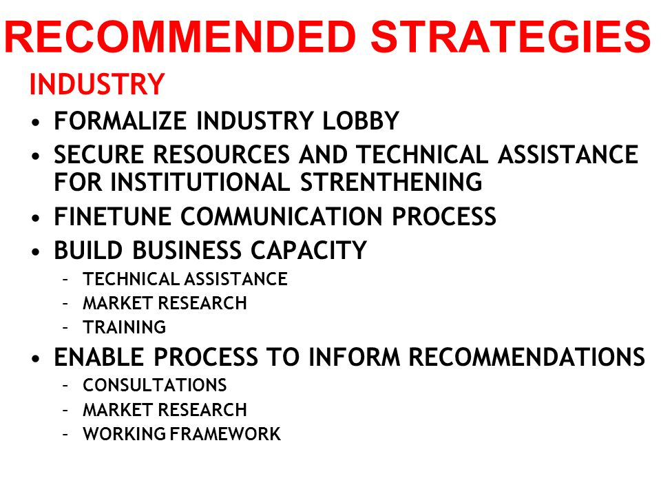 RECOMMENDED STRATEGIES INDUSTRY FORMALIZE INDUSTRY LOBBY SECURE RESOURCES AND TECHNICAL ASSISTANCE FOR INSTITUTIONAL STRENTHENING FINETUNE COMMUNICATI