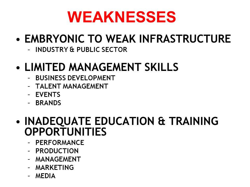 EMBRYONIC TO WEAK INFRASTRUCTURE –INDUSTRY & PUBLIC SECTOR LIMITED MANAGEMENT SKILLS –BUSINESS DEVELOPMENT –TALENT MANAGEMENT –EVENTS –BRANDS INADEQUA