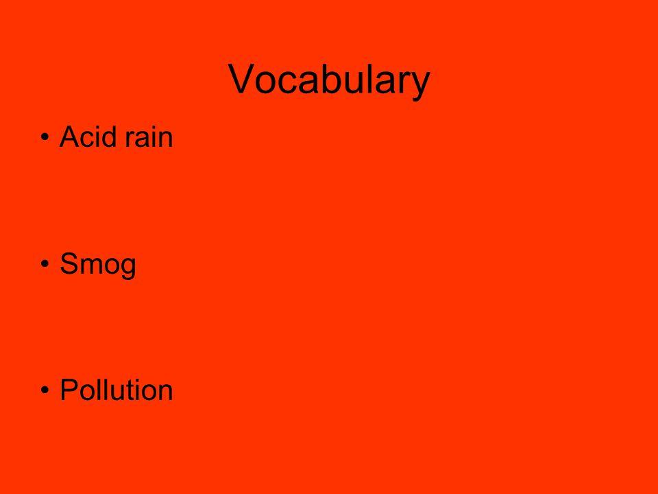Vocabulary Acid rain Smog Pollution