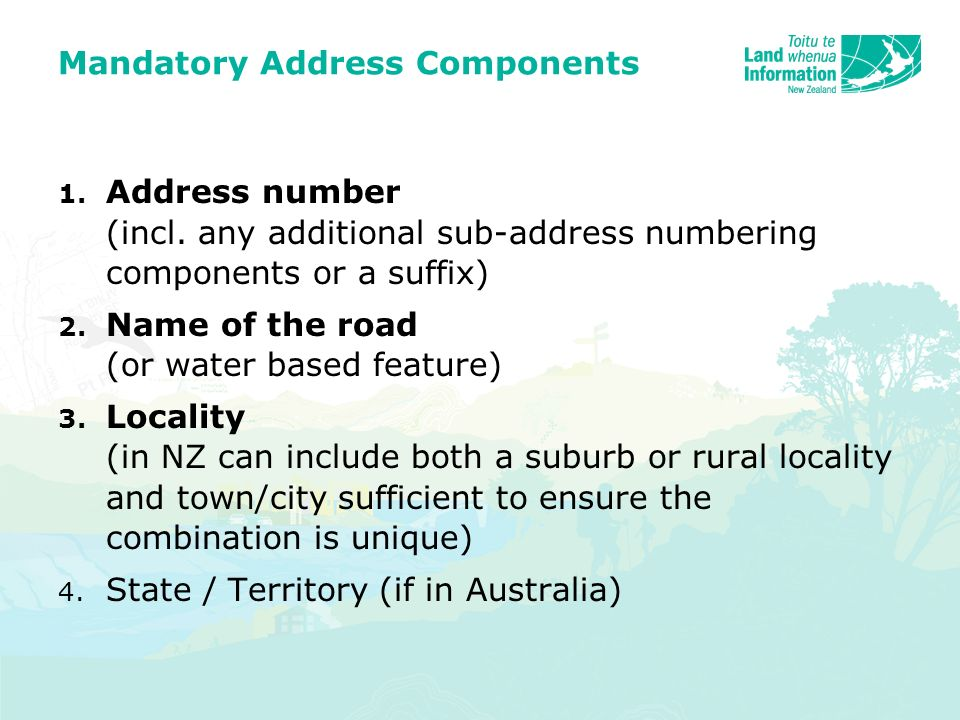 Mandatory Address Components 1. Address number (incl.