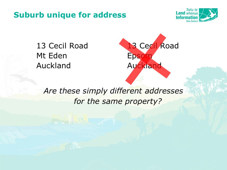 Suburb unique for address 13 Cecil Road Mt EdenEpsomAuckland Are these simply different addresses for the same property