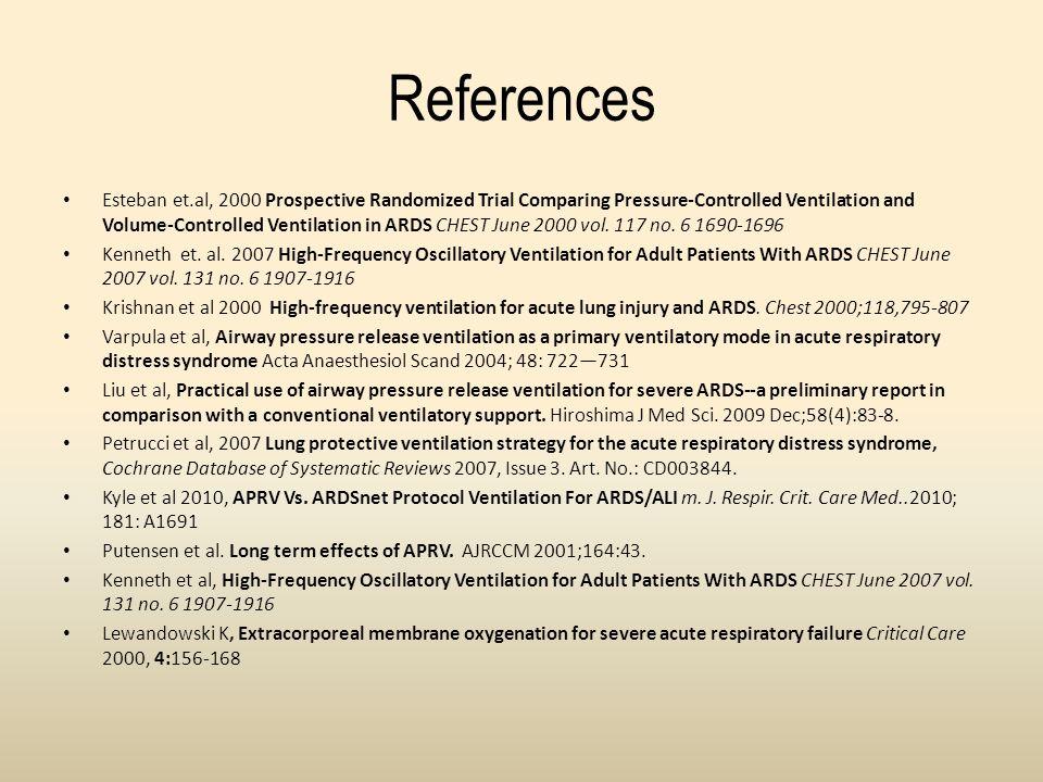 References Esteban et.al, 2000 Prospective Randomized Trial Comparing Pressure-Controlled Ventilation and Volume-Controlled Ventilation in ARDS CHEST