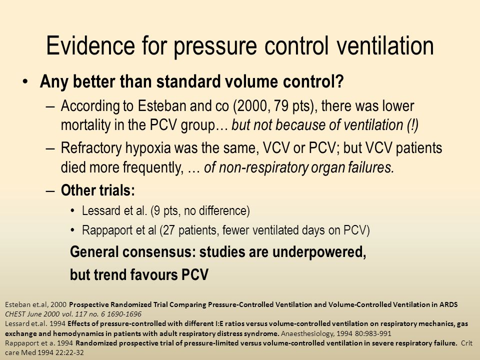 Evidence for pressure control ventilation Any better than standard volume control? – According to Esteban and co (2000, 79 pts), there was lower morta