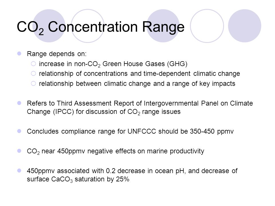 Conclusions Impacts of change are unknown, it is believed that beyond 450ppmv there are serious threats; upper limit of 450ppmv is sound Believes UNFCCC should develop framework to stabilize CO 2 at less than 450ppmv Reduction in fossil fuel use (~0 during century) and seq.