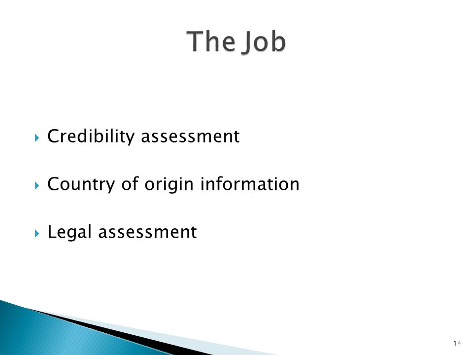 Credibility assessment Country of origin information Legal assessment 14