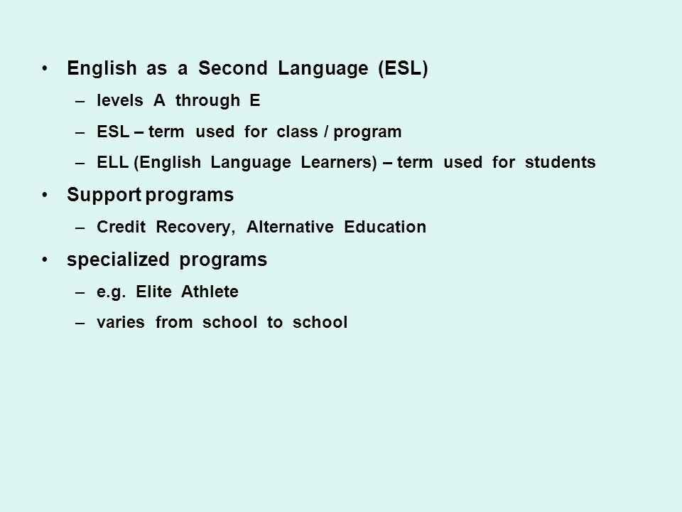 English as a Second Language (ESL) –levels A through E –ESL – term used for class / program –ELL (English Language Learners) – term used for students