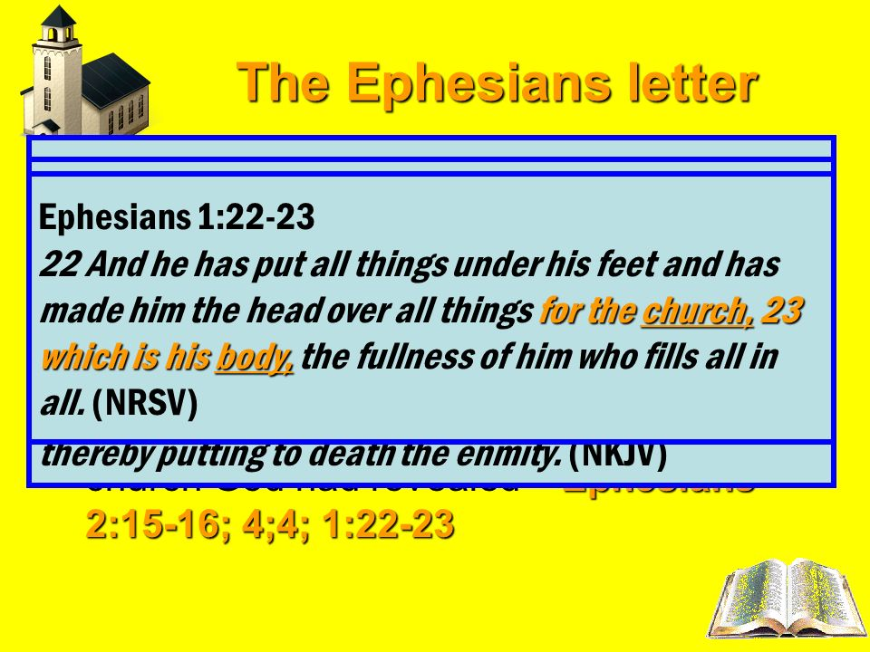 The Ephesians letter 1-3Chapters 1-3 cover the doctrinal will portion of the letter 4-6Chapters 4-6 cover the practical applications of the doctrine l