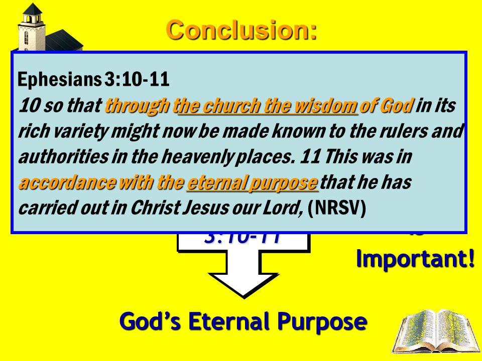3 CHURCHEphesians3:10-11 Ephesians3:10-11 Body of Christ (Eph. 1:22-23; Col. 1:18) (Eph. 1:22-23; Col. 1:18) Wisdom of God Gods Eternal Purpose The Ch