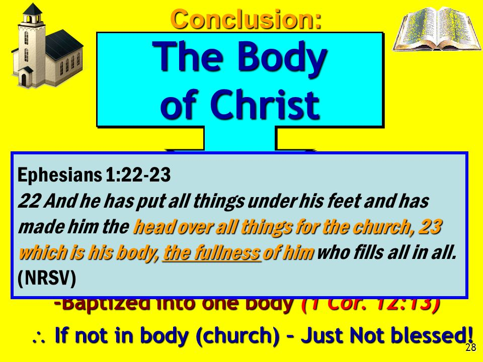 28 The Body of Christ The Body of Christ Fullness of Christ, Eph. 1:22-23 1. All blessings are in Christ (Eph. 1:3) -Baptized into Christ (Gal. 3:27)