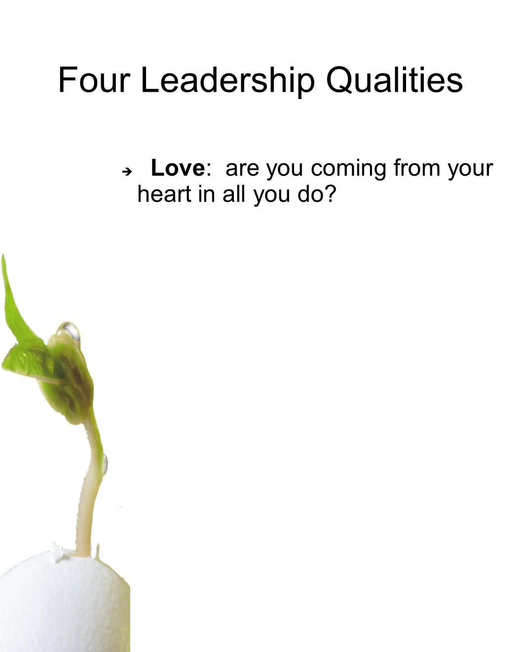 Four Leadership Qualities Love: are you coming from your heart in all you do
