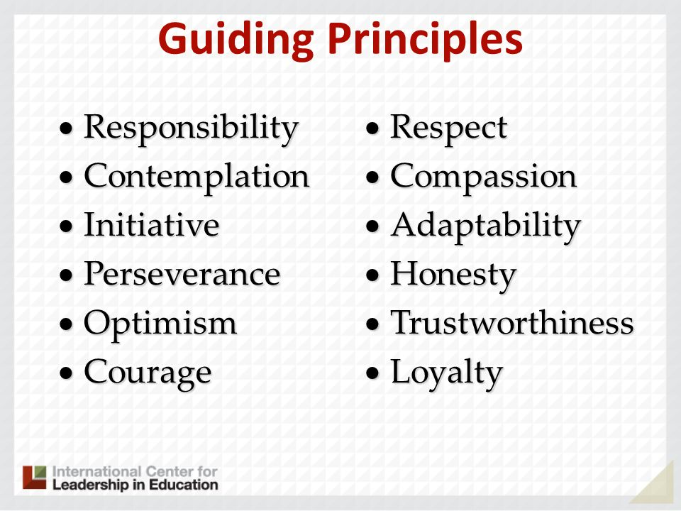 Guiding Principles Responsibility Responsibility Contemplation Contemplation Initiative Initiative Perseverance Perseverance Optimism Optimism Courage Courage Respect Respect Compassion Compassion Adaptability Adaptability Honesty Honesty Trustworthiness Trustworthiness Loyalty Loyalty