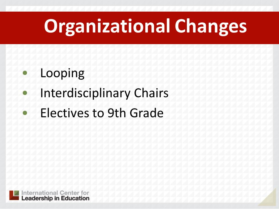 Organizational Changes Looping Interdisciplinary Chairs Electives to 9th Grade