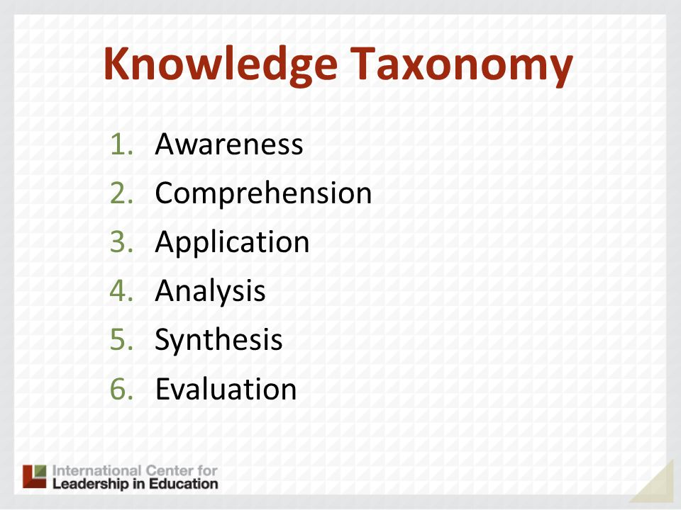 Knowledge Taxonomy 1.Awareness 2.Comprehension 3.Application 4.Analysis 5.Synthesis 6.Evaluation