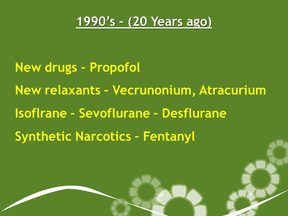 1990s – (20 Years ago) New drugs – Propofol New relaxants – Vecrunonium, Atracurium Isoflrane – Sevoflurane – Desflurane Synthetic Narcotics – Fentany