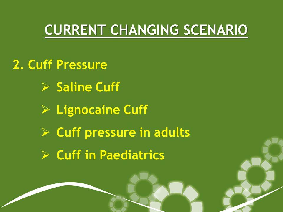 CURRENT CHANGING SCENARIO 2. Cuff Pressure Saline Cuff Lignocaine Cuff Cuff pressure in adults Cuff in Paediatrics