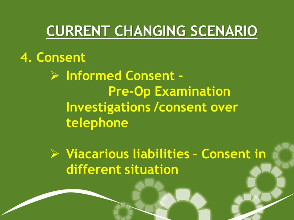 CURRENT CHANGING SCENARIO 4. Consent Informed Consent – Pre-Op Examination Investigations /consent over telephone Viacarious liabilities – Consent in