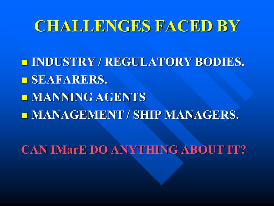 CHALLENGES FACED BY INDUSTRY / REGULATORY BODIES.INDUSTRY / REGULATORY BODIES.