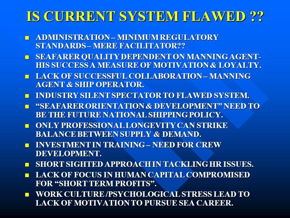 IS CURRENT SYSTEM FLAWED ?.ADMINISTRATION – MINIMUM REGULATORY STANDARDS – MERE FACILITATOR?.
