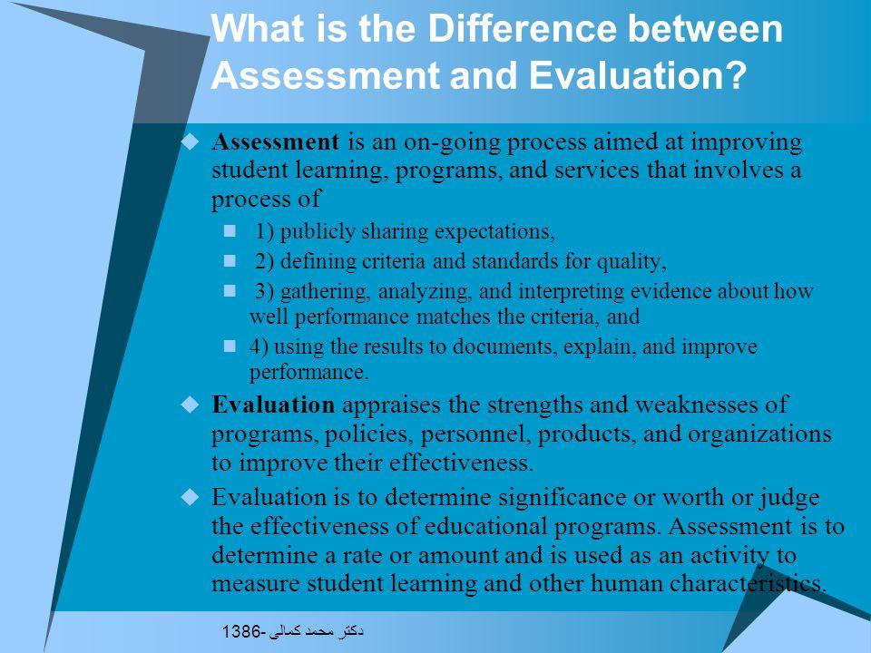 نمونه تفاوت قائل نشدن بین ارزیابی و ارزشیابی بررسی و ارزشیابی سطح رشدی فرد مددجو از نظر رشد هوشی، حركتی، اجتماعی، شناختی و توجه به توانایی ها و محدودی