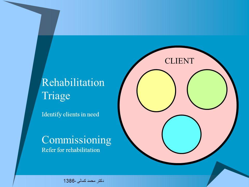 An Alternative: client by client Triage Commissioning Assessment Action Plan Authorisation Case management Service Provision Review دکتر محمد کمالی -