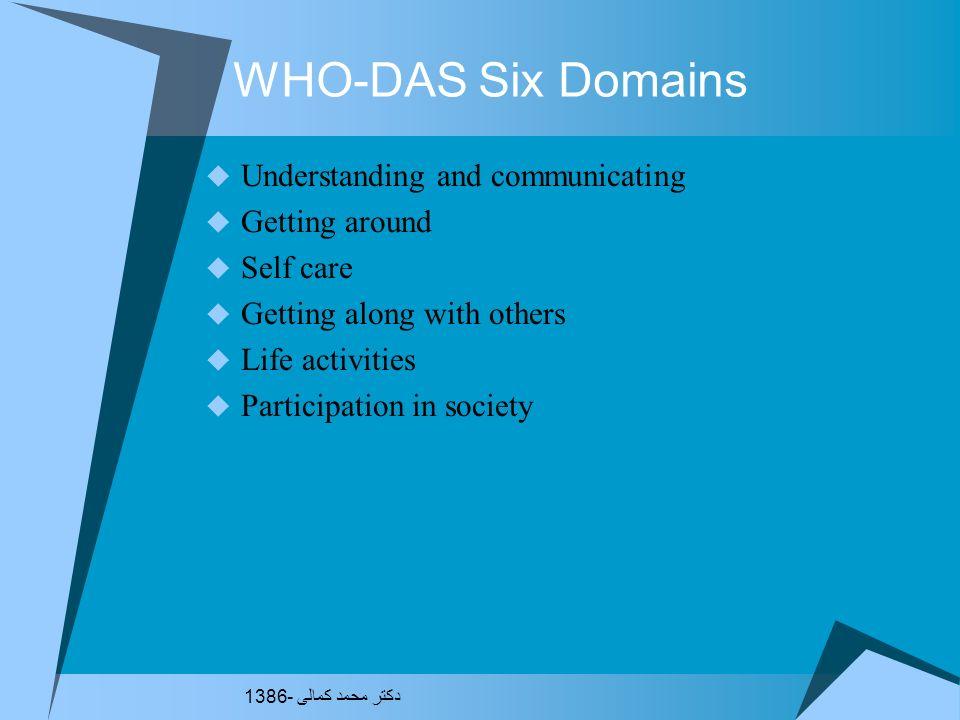 WHO-DAS Used in the physically ill Rheumatology- Ann Rheum Dis 2003:62.140-145 Pulmonary Rehab- Chest 2002:122.948-954 SMI- Acta Psych Scand 2002:105.